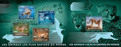 CA14506ab Central Africa 2014 The fast Animals Animals animaux MNH SET