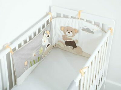 MiniDream Baby Cot Bed Bumper Embroidered Luxury Nursery Bedding