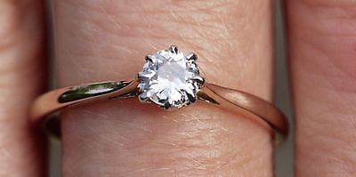 0.41ct Edwardian Rd Old Cut Diamond Solitaire Engagement Ring 18ct Gold Size P