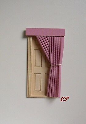 Dolls House Curtains Pink  Door