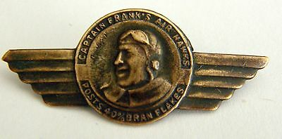 Vintage Small  Brass Wings Pinback Capt Frank's Air Hawks Premium Post Cereal