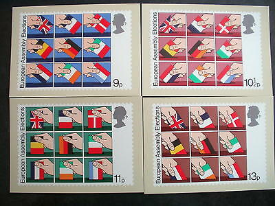 EUROPEAN ASSEMBLY ELECTIONS 1979, FOUR CARDS, national flags, unposted, VG cond