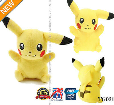 "UK Japanese Anime POKEMON Pikachu 8"" 21cm Soft Plush Toy Doll Teddy Kids TG021B"