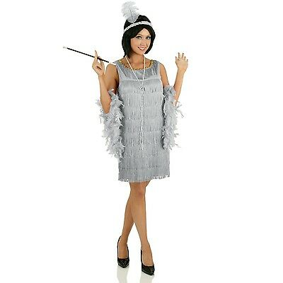 Great Gatsby 1920s Flapper Costume Grey Womens Fancy Dress Outfit