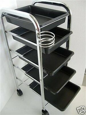Salon Trolley 5 Sliding Tray with Dryer Holder Hairdressing Colour Trolley