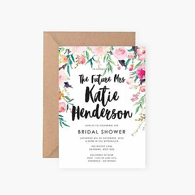 FLAT RATE TRACKED SHIPPING Custom Bridal Shower Invitations Invite Floral Flower