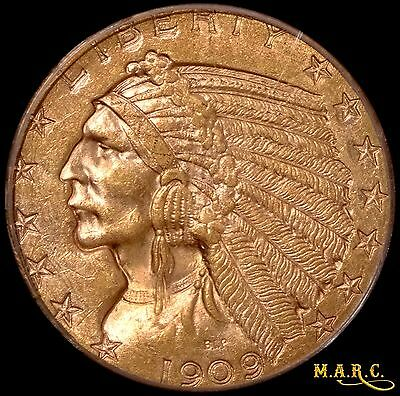 1909-D MS63 PCGS 5$ Gold Indian Half Eagle, A Lustrous Beauty!! Free Shipping!