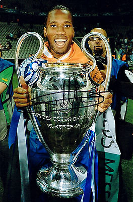 DIDIER DROGBA CHELSEA FC HAND SIGNED PHOTO AUTHENTIC GENUINE + COA - 12x8