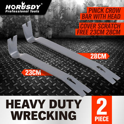 2PC Heavy Duty Wrecking Crow Bar Steel Nail Puller Paint Lid LIfter Trim Pry Bar