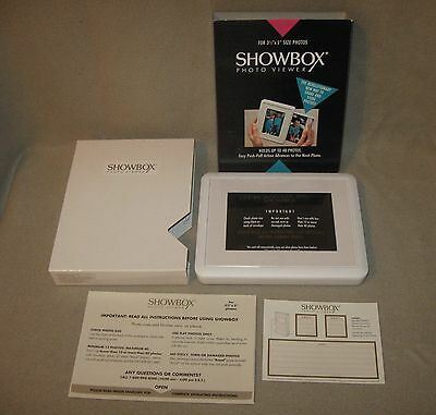 "Showbox Photo Viewer; Burnes; Holds 40 Photos; 3 1/2""x5"" Photos Push-Pull Action"
