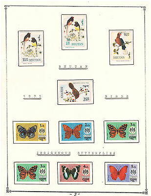 Bhutan 1975 Amazing Collection V.F. Mint Stamps Hinged list: Birds & Butterflies