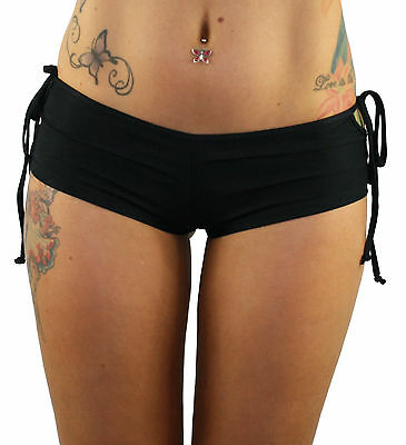Black Tie Side Dance Booty Shorts Hot Pants for Pole Dancing, Dance Pole Fitness