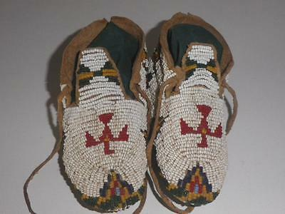 Cheyenne Child's Beaded Ceremonial Moccasins - Red Thunderbirds - FREE SHIPPING