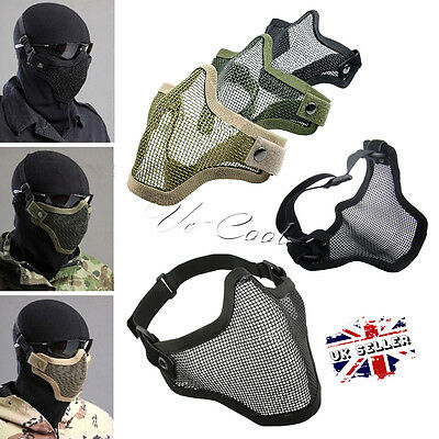 Tactica Mesh Airsoft Steel Mask Paintball Half Face Protection Strike Painball