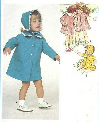 Vintage Girl's A Line Dress Spring Coat and Bonnet Sewing Pattern