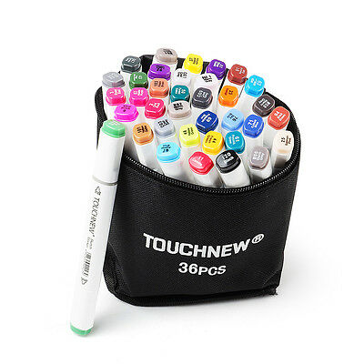 TOUCHNEW Alcohol Sketch 36 Color Twin Tip Marker Pen Graphic Markers+ Pencil Bag