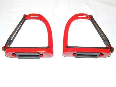 Red Peacock Stirrup Irons - size 4 inches.