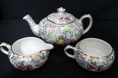 Lord Nelson Ware Pompadour Tea For One Stacking Teapot Creamer Sugar Bowl Kt889