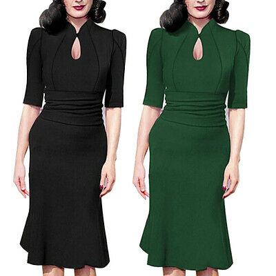 Vintage Style 50s Rockabilly Office Pencil Wiggle Pinup Party Retro Dress 8 1418
