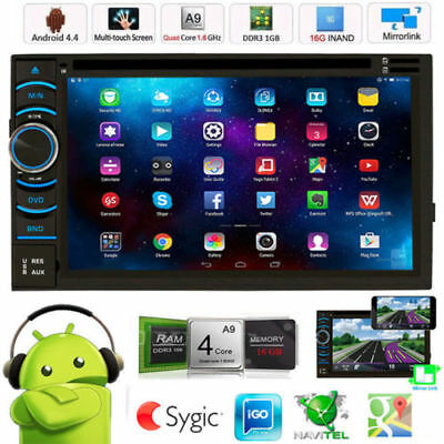 """6.5"""" Android 4.4 Quad Core WiFi 3G Car GPS DVD Player Double 2 Din Radio Stereo"""