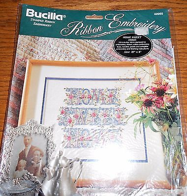 """New NIP Bucilla Stamped Ribbon Embroidery Home Sweet Home 10"""" x 8"""""""
