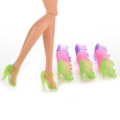 10 Pairs Dolls Shoes High Heel Transparent Shoes For Barbie Dolls Outfit RD