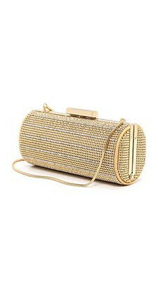 Whiting & Davis Women's Crystal Pinstripes Clutch - Gold, OS, *NEW*