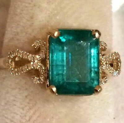 2.75Ct  Natural Colombian Emerald And Diamond Ring 14K Solid Yellow Gold