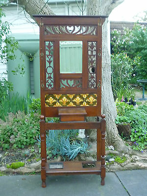 Antique Hall Stand w Tiled Back!  Popham, Radford & Co Plymouth