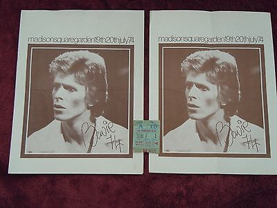 David Bowie Diamond Dogs Tour Madison Square Garden '74 Two Programs And Tix
