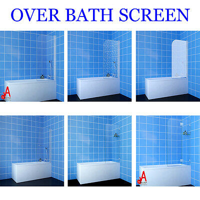 700/800/900x1450 Frameless Shower Screen Over Bath Fixed Panel Various Style