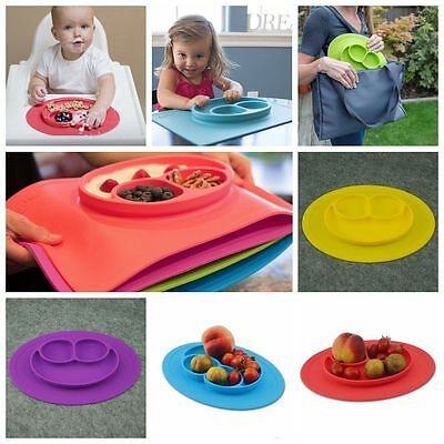 Happy One-Piece Silicone Child Kids Safe Baby Food Divided Bowl Placemat