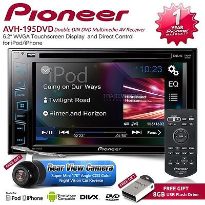 "PIONEER AVH-190DVD 6.2"" Double DIN Reverse Camera Car DVD Player Stereo Headunit"