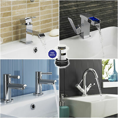 Modern Bathroom Basin Sink Mixer Taps Solid Brass Chrome Finish