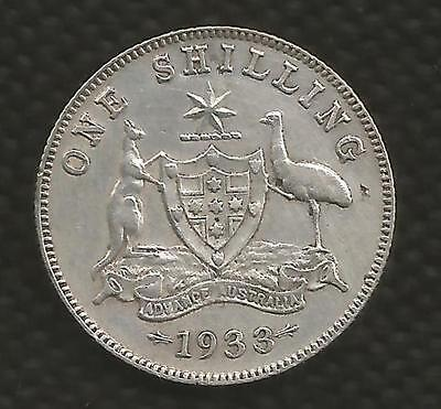 1933 Shilling - George V -*6 Pearls* - Rare Date - Very Low Mintage - Fine