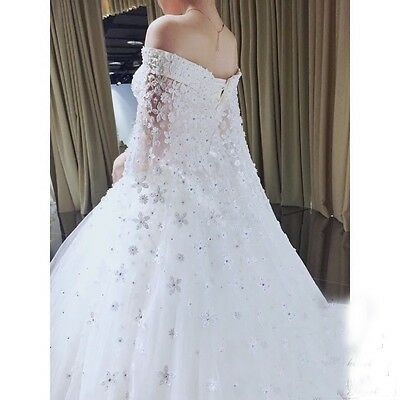 Princess White Ivory Lace Wedding Dress Bridal Gown