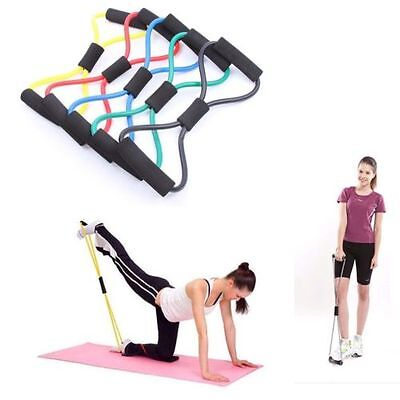 Yoga Pilates Abs Exercise Fitness Tube Workout Resistance Bands Color Random