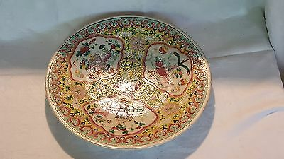 Chinese Cantonese vintage pre Victorian oriental antique plate platter charger