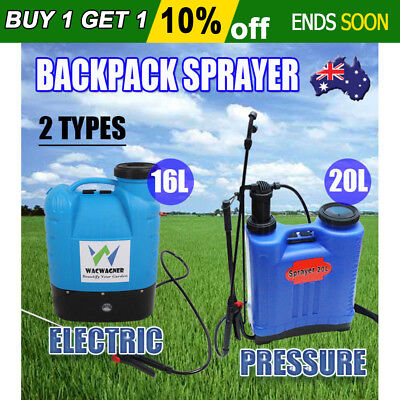16L Electric & 20L Pressure Backpack Sprayer Garden Weed Killer Chemical Spray