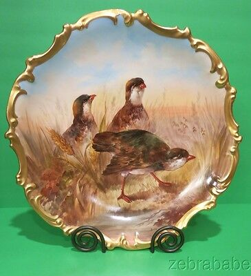 Antique French Large Limoges Charger Artist Dubois Birds 15 3/4""