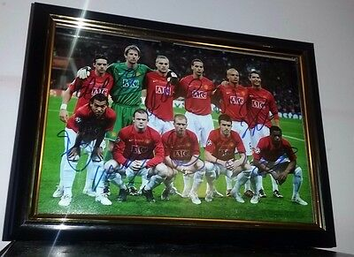 Ronaldo-  Hand Signed 2008 Manchester United Starting 11 With Coa Framed Photo