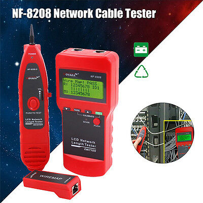 NF8208 LCD Display Network LAN Cable Tester Wire Length Tracker Tracer RJ45 RJ1