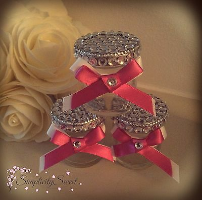 50x Wedding Mini Favour Jars Diamante Bling Crystal Available In Any Colour