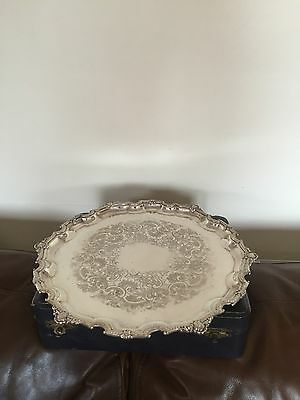 """NICE CHASED AND WAVEY EDGED SILVER PLATED TRAY  13"""" ( SPT 333) JOHN TURTON & Co"""