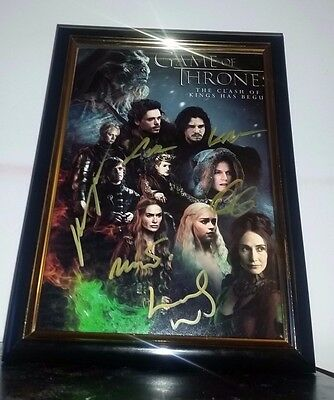 Game Of Thrones Hand Signed By Cast Dinklage Harington Clarke Framed Autograph