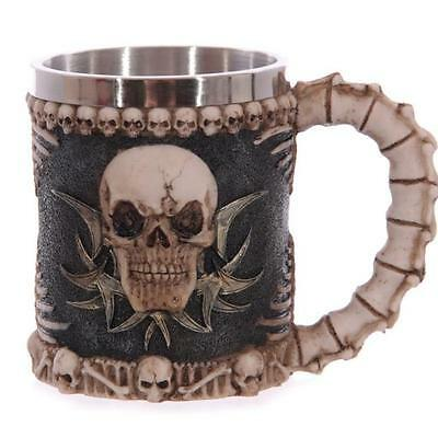 Fiendish 3D Skull Tankard Mug Stainless Steel Cup Coffee Beer Pirate Gothic New