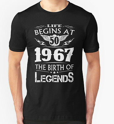 NEW Life Begins At 50 1967 The Birth Of Legends Black Tshirt Size S-2XL