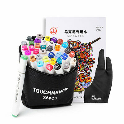 36 Color TOUCHNEW Alcohol Art Dual Tip General Sketch Pen Marker+A4 Drawing Book