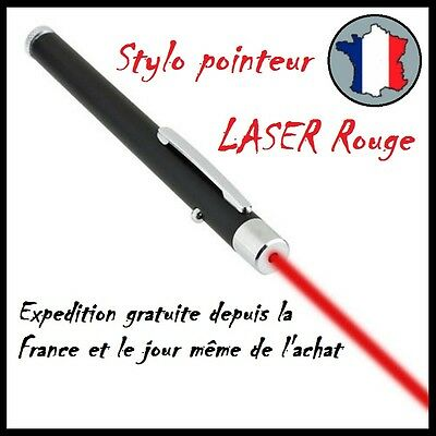 POINTEUR POINTER LASER LAZER ROUGE RED PUISSANT 1mW STYLO LONGUE PORTEE NEW