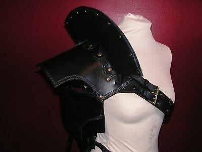 Black/Charcoal Grey Leather Pauldron Shoulder Armour with Neck Guard LARP